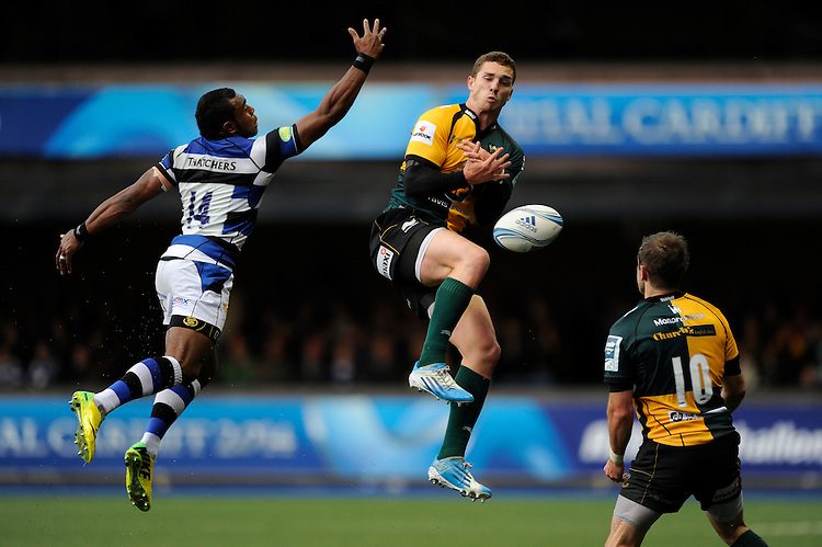 Semesa Rokoduguni of Bath Rugby does enough to put George North of Northampton Saints off during the Amlin Challenge Cup Final match between Bath Rugby and Northampton Saints at Cardiff Arms Park on Friday 23rd May 2014 (Photo by Rob Munro)