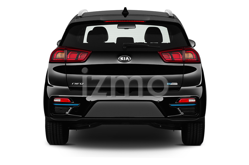 Straight rear view of 2019 KIA e-Niro More 5 Door SUV Rear View  stock images