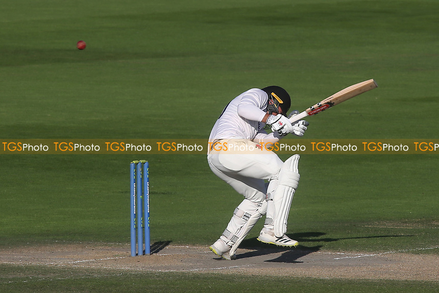 Sussex batsman, Tom Haines, takes evasive action from a short pitched delivery bowled by Middlesex seamer, Blake Cullen during Sussex CCC vs Middlesex CCC, LV Insurance County Championship Division 3 Cricket at The 1st Central County Ground on 7th September 2021