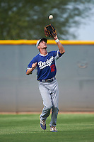 Los Angeles Dodgers Logan Landon (12) during an instructional league game against the Cleveland Indians on October 15, 2015 at the Goodyear Ballpark Complex in Goodyear, Arizona.  (Mike Janes/Four Seam Images)