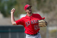 Los Angeles Angels relief pitcher Jason Alexander (59) during a Minor League Spring Training game against the Colorado Rockies at Tempe Diablo Stadium Complex on March 18, 2018 in Tempe, Arizona. (Zachary Lucy/Four Seam Images)