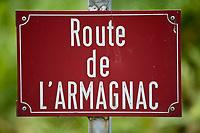 """Europe/France/Aquitaine/40/Landes/ Saint-Cricq Villeneuve: Plaque de rue """"Route de l'Armagnac"""""""