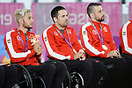 Trevor Hirschfield, Patrice Dagenais, and Eric Rodrigues, Lima 2019 - Wheelchair Rugby // Rugby en fauteuil roulant.<br />