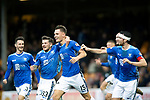Motherwell v St Johnstone…20.10.18…   Fir Park    SPFL<br />Jason Kerr celebrates with Scott Tanser, Matty Kennedy, Joe Shaughnessy and Chris Kane after scoring the winning goal<br />Picture by Graeme Hart. <br />Copyright Perthshire Picture Agency<br />Tel: 01738 623350  Mobile: 07990 594431