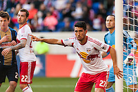 Kosuke Kimura (27) of the New York Red Bulls guards the near post. The New York Red Bulls defeated the Philadelphia Union 2-1 during a Major League Soccer (MLS) match at Red Bull Arena in Harrison, NJ, on March 30, 2013.