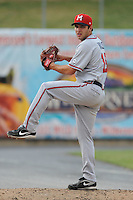Mississippi Braves pitcher David Hale #18 delivers a pitch during the Southern League All-Star Game  at Smokies Park on June 19, 2012 in Kodak, Tennessee.  The South Division defeated the North Division 6-2. (Tony Farlow/Four Seam Images).