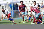 GER - Mannheim, Germany, May 21: During the 1. Bundesliga Herren hockey match between Mannheimer HC (white) and Uhlenhorster HC Hamburg (purple) on May 21, 2016 at Mannheimer HC in Mannheim, Germany. Final score 1-1 (HT 0-0). (Photo by Dirk Markgraf / www.265-images.com) *** Local caption *** Dominic Gieskes #22 of Uhlenhorster HC Hamburg