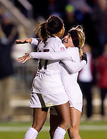 Lindsay Taylor (17) celebrates her goal with teammate Camille Levin (2) of Stanford during the second game of the NCAA Women's College Cup at WakeMed Soccer Park in Cary, NC.  Stanford defeated Boston College, 2-0.