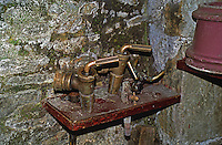 Old winemaking tools in the cellar of Lucien Muzard, Santenay, Cote d'Or, Bourgogne