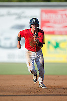 Alex Call (2) of the Kannapolis Intimidators takes off for third base during the game against the Greensboro Grasshoppers at Intimidators Stadium on July 17, 2016 in Greensboro, North Carolina.  The Grasshoppers defeated the Intimidators 5-4 in game two of a double-header.  (Brian Westerholt/Four Seam Images)
