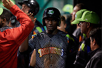 Daytona Tortugas center fielder Taylor Trammell (5) high fives with teammates in the dugout during a game against the Jupiter Hammerheads on April 13, 2018 at Jackie Robinson Ballpark in Daytona Beach, Florida.  Daytona defeated Jupiter 9-3.  (Mike Janes/Four Seam Images)