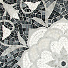 "19"" x 19"" Aurelia, a stone hand-cut mosaic, is shown in Thassos, Afyon White, Allure, Carrara polished."