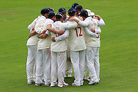 Glamorgan players huddle during Glamorgan CCC vs Essex CCC, Specsavers County Championship Division 2 Cricket at the SSE SWALEC Stadium on 23rd May 2016