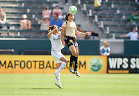 FC Gold Pride's Erika Dos Santos leaps high for a ball. LA  Sol's Shannon Boxx. The LA Sol defeated FC Gold Pride of the Bay Area 1-0 at Home Depot Center stadium in Carson, California on Sunday April 19, 2009.  .