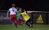 Samantha Hallsworth of Watford Ladies sees a shot saved during the 2018/19 Pre Season Friendly match between Watford Ladies and Stevenage Ladies FC at Gaywood Park, Hempstead Road, England on 16 August 2018. Photo by Andy Rowland.