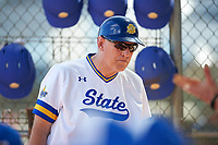 South Dakota State Jackrabbits coach Brian Grunzke during a game against the FIU Panthers on February 23, 2019 at North Charlotte Regional Park in Port Charlotte, Florida.  South Dakota State defeated FIU 4-3.  (Mike Janes/Four Seam Images)