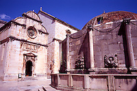 Croatia. Dubrovnik Old City. Big Onofrio's Fountain and Church of St Saviour, Placa, Stradun