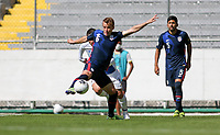 GUADALAJARA, MEXICO - MARCH 18: Jackson Yueill #6 of the United States battles for the ball during a game between Costa Rica and USMNT U-23 at Estadio Jalisco on March 18, 2021 in Guadalajara, Mexico.