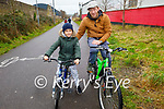 Teddy and Ian Panpuch enjoying a cycle on the Slim Mile Greenway in Tralee on Sunday.