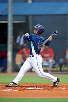 GCL Rays first baseman Erik Ostberg (14) follows through on a swing during the first game of a doubleheader against the GCL Twins on July 18, 2017 at Charlotte Sports Park in Port Charlotte, Florida.  GCL Twins defeated the GCL Rays 11-5 in a continuation of a game that was suspended on July 17th at CenturyLink Sports Complex in Fort Myers, Florida due to inclement weather.  (Mike Janes/Four Seam Images)