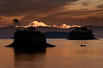 The golden glow of Mt. Baker at sunset from Cypress Island in the San Juan Islands, Washington.