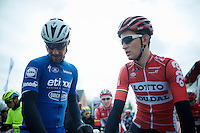 Tom Boonen (BEL/Etixx-QuickStep) & Tiesj Benoot (BEL/Lotto-Soudal) at the start<br /> <br /> E3 - Harelbeke 2016