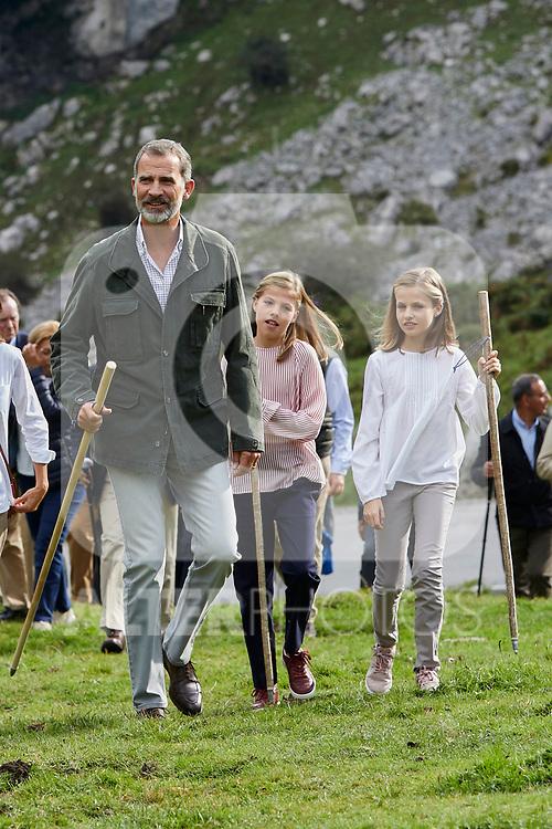 King Felipe VI of Spain, Princess Sofia of Spain and Princess Leonor of Spain visit the Enol lake in Asturias, Spain. September 08, 2018. (ALTERPHOTOS/A. Perez Meca)