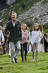 King Felipe VI of Spain, Princess Sofia of Spain and Princess Leonor of Spain visit the Enol lake in Asturias, Spain. September 08, 2018. (ALTERPHOTOS/A. Perez Meca)