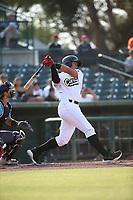 Jose Reyes (27) of the Cucuys de San Bernardino bats against the los Toros de Visalia at San Manuel Stadium on July 11, 2021 in San Bernardino, California. (Larry Goren/Four Seam Images)