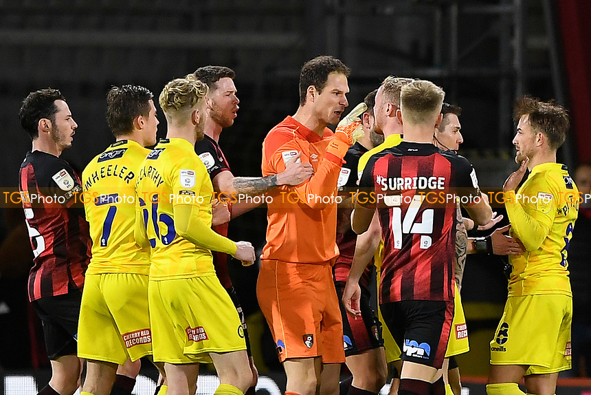 Asmir Begovic of AFC Bournemouth points the finger at Alex Pattison of Wycombe Wanderers for a bad tackle and was later sent off during AFC Bournemouth vs Wycombe Wanderers, Sky Bet EFL Championship Football at the Vitality Stadium on 15th December 2020