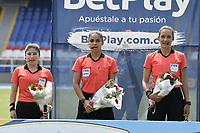CALI - COLOMBIA, 17-06-2021: Maria daza Ortiz, árbitro, durante partido por la fecha 21, cuadrangulares semifinales, del Torneo BetPlay DIMAYOR I 2021 entre Atlético F.C. y Valledupar F.C. jugado en el estadio Pascual Guerrero de la ciudad de Cali. / Maria Daza Ortiz, referee, during the match for the date 21, semifinal home runs, as part of BetPlay DIMAYOR Tournament I 2021 between Atletico F.C. and Valledupar F.C. played at Pascual Guerrero stadium in Cali. Photo: VizzorImage / Gabriel Aponte / Staff
