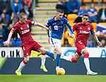 St Johnstone v Rangers…22.09.19   McDiarmid Park   SPFL<br />Michael O'Halloran battles with James Tavernier and Steven Davis<br />Picture by Graeme Hart.<br />Copyright Perthshire Picture Agency<br />Tel: 01738 623350  Mobile: 07990 594431