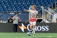 FOXBOROUGH, MA - AUGUST 21: Ryley Kraft #98 of Richmond Kickers looks to pass during a game between Richmond Kickers and New England Revolution II at Gillette Stadium on August 21, 2020 in Foxborough, Massachusetts.