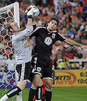 Toronto FC goalkeeper Stefan Frei (24) defends the play against DC United Dejan Jakovic (5).   DC United tied Toronto FC. 3-3 at  RFK Stadium, Saturday May 9, 2009.