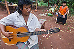 Arturo Duarte, chief of Andresito Mbya Guarani village near San Ignacio, Misiones, Argentina, playing the guitar.