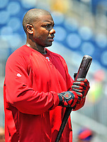 30 May 2011: Philadelphia Phillies first baseman Ryan Howard awaits his turn in the batting cage prior to facing the Washington Nationals at Nationals Park in Washington, District of Columbia. The Phillies defeated the Nationals 5-4 to take the first game of their 3-game series. Mandatory Credit: Ed Wolfstein Photo