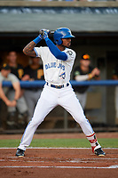 Bluefield Blue Jays right fielder DJ Neal (3) at bat during the second game of a doubleheader against the Bristol Pirates on July 25, 2018 at Bowen Field in Bluefield, Virginia.  Bristol defeated Bluefield 5-2.  (Mike Janes/Four Seam Images)