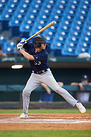 Jackson Baumeister (33) of The Bolles School in Jacksonville, FL playing for the Milwaukee Brewers scout team during the East Coast Pro Showcase at the Hoover Met Complex on August 4, 2020 in Hoover, AL. (Brian Westerholt/Four Seam Images)