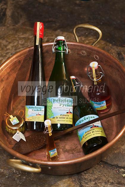 Europe/France/Midi-Pyrénées/65/Hautes-Pyrénées/Vallée du Louron/Vielle-Louron: Chez Jean-Luc Morinière producteur de produits à base de frêne -   Frénésie Pyrénées - la gamme de produits: pétillant, vinaigre, apéritif