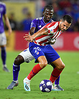 Orlando, FL - Wednesday July 31, 2019:  Alexandro Pozuelo #20, Diego Chara #21 during an Major League Soccer (MLS) All-Star match between the MLS All-Stars and Atletico Madrid at Exploria Stadium.