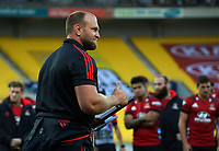 Crusaders prop Joe Moody celebartes his 100th Super Rugby match after the Super Rugby Aotearoa match between the Hurricanes and Crusaders at Sky Stadium in Wellington, New Zealand on Sunday, 11 April 2020. Photo: Dave Lintott / lintottphoto.co.nz