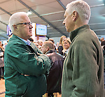 October 26, 2015 : Keen Ice part owner Jerry Crawford talks with trainer Todd Pletcher during the Rood & Riddle Breeders' Cup Post Position Draw at the Maker's Mark Bourbon Lounge in Lexington, Kentucky. Scott Serio/ESW/CSM