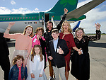 John Burke with, from left, his sister Pamela, mother Claire, wife Aoibhin and Sister June, as well as nieces Ava and Amelya and nephew Callum Curtin on his arrival back to Shannon Airport, following his successful attempt, being the first Clare person ever to climb Mount Everest. Photograph by John Kelly.