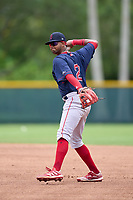 FCL Red Sox second baseman Antoni Flores (2) throws to first base during a game against the FCL Pirates Gold on July 1, 2021 at Pirate City in Bradenton, Florida.  (Mike Janes/Four Seam Images)