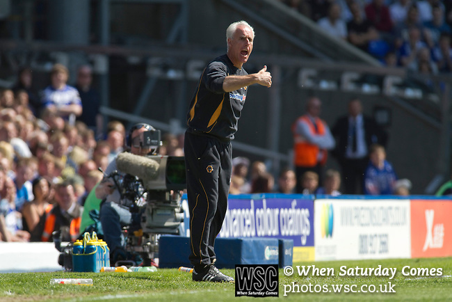 Birmingham City 1 Wolverhampton Wanderers 1, 01/05/2011. St Andrews, Premier League. Visiting manager Mick McCarthy becomes animated in the first half at St. Andrew's stadium, during Birmingham City's Barclay's Premier League match with Wolverhampton Wanderers. Both clubs were battling against relegation from  England's top division. The match ended in a 1-1 draw, watched by a crowd of 26,027. Photo by Colin McPherson.
