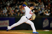 Buffalo Bisons relief pitcher Leonel Campos (45) delivers a pitch during a game against the Pawtucket Red Sox on August 31, 2017 at Coca-Cola Field in Buffalo, New York.  Buffalo defeated Pawtucket 4-2.  (Mike Janes/Four Seam Images)