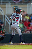 Braden Shewmake (39) of the Rome Braves at bat against the Kannapolis Intimidators at Kannapolis Intimidators Stadium on July 2, 2019 in Kannapolis, North Carolina.  The Intimidators walked-off the Braves 5-4. (Brian Westerholt/Four Seam Images)