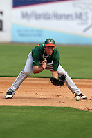 """Miami Hurricanes Brad Fieger #27 during a game vs. the University of South Florida Bulls in the """"Florida Four"""" at George M. Steinbrenner Field in Tampa, Florida;  March 1, 2011.  USF defeated Miami 4-2.  Photo By Mike Janes/Four Seam Images"""