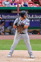 Quad Cities River Bandits third baseman Colton Shaver (37) at bat during a Midwest League game against the Kane County Cougars on July 1, 2018 at Northwestern Medicine Field in Geneva, Illinois. Quad Cities defeated Kane County 3-2. (Brad Krause/Four Seam Images)