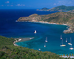 Antigua, West Indies  <br /> Mouth of English Harbor and Snapper Point from Shirley Heights - Leeward Caribbean Islands